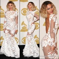 Wholesale Beyonce Sexy Gowns - Beyonce Grammy Awards Lace Sheer Celebrity Dresses 2017 Long Sleeve Backless Mermaid Evening Dresses Women Pageant Gowns Prom Dresses BO6050