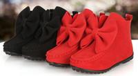 mädchen schuhe stiefel rosa großhandel-Mode neue Kinder Stiefel Mädchen Bögen Lederstiefel Kinder kurze Schuhe Kinder Weihnachten Stiefel rot schwarz heiß rosa Weinrot A7149