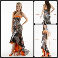 Wholesale Camo Evening Gowns - 2016 Striking Mermaid Camo Wedding Dresses Sweetheart Sleeveless Orange Camoflauge Wedding Evening Dresses Hi Lo Trian Bridal Gowns