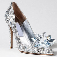 Wholesale Silver Cinderella Shoes - Luxurious Cinderella High Heels Crystal Summer Wedding Bridal Shoes Thin Heel Rhinestone Butterfly Plus Size BlingBling Shoes BO7932