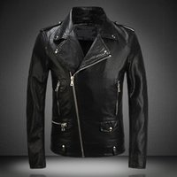 Wholesale Synthetic Flowers L - 2016 Balmain Men PU Leather Jackets and Coats Zipper Slim Fit Winter Motorcycle Jackets Coat Men jaqueta de couro masculina outerwear Black