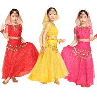 Wholesale Girls Shiny Spandex - 2015 Child Bollywood Indian Dress Shiny 4PCS Top Belts Veil Hip Scarf Kids Belly Dance Costume Set Ballroom Outfit Girls