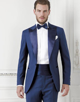 Wholesale Dark Gray Wedding Tuxedos - Dark Blue Groom Tuexdos Custom Made Slim Fit Groomsmen Men Wedding Suits Prom Formal Occasion Tuxedos ( Jacket+Pants+Bow Tie+Girdle)