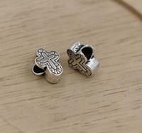 europäisches armband großes loch silber großhandel-MIC Tibet Silber Kreuz großes Loch Perlen passen europäischen Charms Armband 11X14.5MM (338)