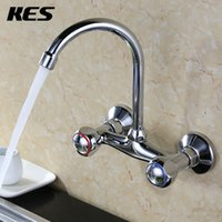 Wholesale Single Handle Waterfall Kitchen Faucet - KES L606B Double Handles Brass Kitchen or Laundry Faucet with Swivel Spout Aerator Wall Mount, Polished Chrome