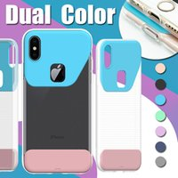 Dual Color Soft TPU Hard Case para PC Ultra Slim Transparente Crystal Clear Shockproof Cover para iPhone X 8 Plus 7 6 6s Samsung S8 S7 Edge Note 8