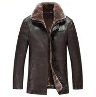 Wholesale Hot Mens Winter Leather Coats - Fall-Famous Brand Hot Sale Mens Leather-Motorcycle Casaca De Cuero Hombre Autumn Winter Mens Leather Jackets Long Leather Coat Men