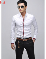 Wholesale Casual Grey Dress Shirt - 2015 New Casual Shirts Men Clothing Social Business Slim Fit Shirt Long Sleeve England White Blue Grey Pink Mens Shirts Formal Camisas 5183