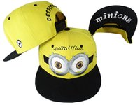 Wholesale Despicable Minion Dave Plush - Despicable Me Hat Minion Plush Hats Jorge Dave Stewart Cosplay Cap Despicable Plush Hat snapback hats 10pcs free shipiing