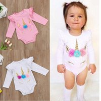 Wholesale Winter Body Suits Baby - Unicorn baby girl romper cotton kid jumpsuit clothing pink white long short sleeve body suit ruffle sleeve cute girls toddler rompers suits