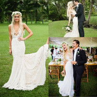 Wholesale Sexy Bare Back Wedding Dresses - 2017 New Full Lace Mermaid Wedding Dresses Sexy Plunging V-Neck Garden Wedding Gowns with Low Bare Back Bridal Gowns with Court Train
