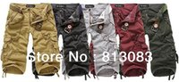 Wholesale combat cargo shorts - 2017 NEW MENS CROPPED TROUSERS CASUAL MILITARY ARMY CARGO CAMO COMBAT WORK SHORTS 5 COLORS US SIZE 29-38#