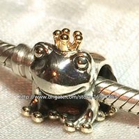 Wholesale Glass Frog Charms - 100% S925 Sterling Silver & 14K Real Gold Frog Prince Charm Bead Fits European Pandora Jewelry Bracelets Necklaces & Pendant
