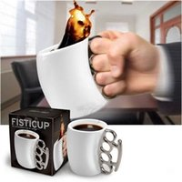 Wholesale Wholesale Brass Knuckle Mug - Creative Fist Cup Portable Coffee Cup For Ceramic Brass Knuckles Mug Black And White Novelty Gifts 10fy C R