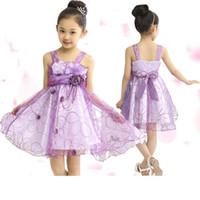 Wholesale Net Ribbon Yarn - 2015 Summer Fashion Flower Girl's dress sleeveless vest ribbon pure cotton net yarn baby lace dress children clothing Free Shipping A-0176