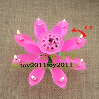 Wholesale Musical Lights For Christmas - Christmas Candles Sale Candle Lamp No Pink Floating Candles New Rotating Music Musical Lotus Flower Romantic Party Gift Light for Birthday