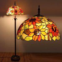 Wholesale Elegant Bedside Lamps - European Style Stained Glass Tiffany Floor Lamp Creative Elegant Sunflower Floor Lamp Living Room Office Bar Hotel Bedside Light Fitting