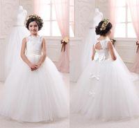 Wholesale Bridal Gowns For Kids - 2016 Cheap Ivory Bridal Flower Girls Dresses for Weddings Elegant Crew Neck Sleeveless Lace Tulle Kids Formal Wear BA1494