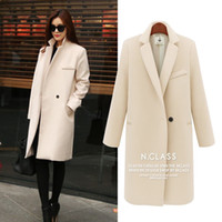 Wholesale Ladies Pink Winter Coats - S5Q Womens Warm Winter Fitted Trench Coat Lady Lapel Slim Long Jacket Outerwears AAAEBQ