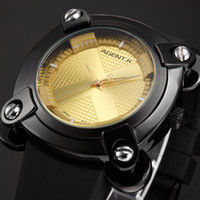 Wholesale Square Silicon Watches - AGENTX Yellow Square Dial X Design Screw Analog Black Silicon Rubber Steel Buckle + Gift Box Mens Boy Quartz Sport Watch  AGX050