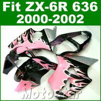 Wholesale motorcycle plastic pink - Motorcycle fairings for kawasaki ZX6R 636 00 01 02 plastic fairing kit ZX636 ZX-6R 2000 2001 2002 pink black bodywork JK44