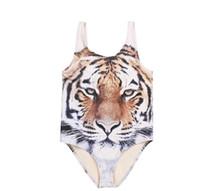 um pedaço swimsuit tigre venda por atacado-INS Meninas Swimwear Bikini Verão One Piece Crianças Swimsuit meninas Tiger Imprimir Swimsuit Crianças Swimwear Meninas Maiôs A7644
