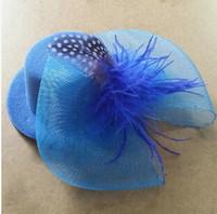 ücretsiz nakliye fotoğrafçılık için sahne toptan satış-Diy en satış ücretsiz kargo çok tüy dantel yay M124 şapka Han çocuklar çocuk 17 cm firkete firkete aksesuarları şapka düğün fotoğrafçılığı sahne