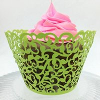 Wholesale Cupcake Wrapper Yellow - Laser Cut Color Cupcake Wrappers Pretty Cake Cup Paper Wraper Liner Birthday Party Cake Decoration HOT SD825