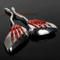 Paire Universal Moto Moto chrome rétroviseur 8mm main Claw Rearview Mirror Side Skull rouge Squelette mitsubishi