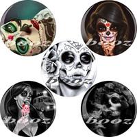 protetores de ouvido do dia das bruxas venda por atacado-Orelha de Halloween expansor mulher crânio padrão túneis de ouvido e plugues piercing jóia do corpo 6-25mm 60 pçs / lote