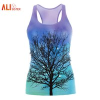 Wholesale Blouse Galaxy - Wholesale- Alisister 3d Tree Tank Top 2017 Summer Galaxy Print Sleeveless Vest 2017 Sexy Blouses Free Size Bodybuilding Dropship Clothing
