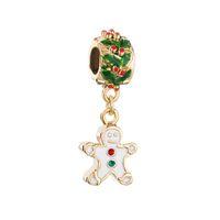 Wholesale Gingerbread Man Wholesale - Christmas Gingerbread Man Cookie dangle metal slide bead European spacer charm fit Pandora Chamilia Biagi charm bracelet