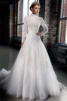 Wholesale Wedding Dress Tulle Muslim - High Neck Vintage 2016 Lace Muslim Wedding Dresses A Line Long Sleeves Modest Dubai Bridal Dress Gowns Beads Appliques Tulle Train Cheap