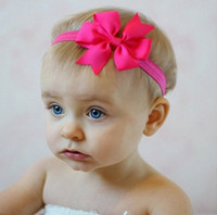 Wholesale Top Baby Headband Ornament - 20pcs lot Top Baby Headbands Girl Elastic Hair Bow Flower Hairbands Handmade Children Hair Accessories Kids Hair Ornaments