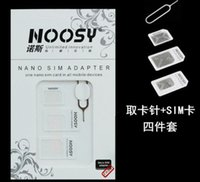 Wholesale Iphone5 Pin - 4 in 1 Nano Micro Sim Card Adapter Noosy SIM Adapter for iPhone5 5S 4S with Retail Package 500Sets