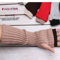 Wholesale Double Refers - Wholesale-Autumn and winter double layer male women's lengthen hip-hop lucy refers to yarn semi-finger gloves arm sleeve