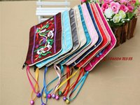 Wholesale Large Decorative Bells - Novelty Decorative Bells Zipper Large Jewelry Gift Pouches Embroidered Chinese style Silk Packaging Pouches 50pcs lot mix color