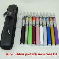 Wholesale Drip Tip Zipper - Electronic Cigarettes eGo T Mini Protank vape pens Starter Kit with Metal Drip Tip Mini Protank 1 Vaporizer Atomizer Zipper case Pack kits