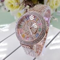 Wholesale Women Rhinestone Waterproof Watch - New Hot Women Luxury Watches Fashion Waterproof Diamond RoundWatchcase Couples For Lovers Delicate Watch Birthday Gift Present WristWatch