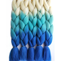 Wholesale hair styles for braids online - Hot Sale Tone Blonde Blue Ombre Synthetic Jumbo Braids Hair Extensions inch CM Hair Bulk for Box Braids Crochet Style