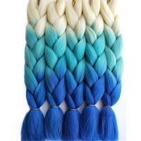 Wholesale 65cm Hair - Hot Sale 3Tone Blonde Blue Ombre Synthetic Jumbo Braids Hair Extensions 24inch 65CM 5pcs lot Hair Bulk for Box Braids Crochet Style