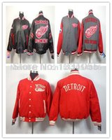 Wholesale Jacket Black Wings - 2016 Detroit Red Wings Gray Red New Coats Stitched Mens Cotton Winter Ice Hockey Jackets Outerwear Embroidery Logos
