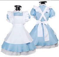 santa elbiseli kıyafetler toptan satış-Japonca En Çok Satan Fantezi Kızlar Alice In Wonderland Fantasy Mavi Işık Ton Lolita Hizmetçi Kıyafet Hizmetçi Kostüm Hizmetçi Elbise