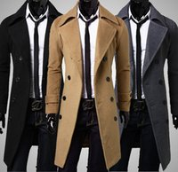 Neue Mens lange Pea Wintermantel Men & #039; s wolle Mantel Turn down Collar Double Breasted Männer Trenchcoat