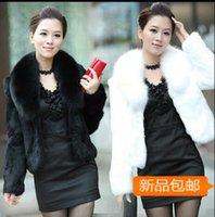 Wholesale Short Hair Mink Fur Coat - Autumn and winter women fur coat black large fur collar long-sleeve mink hair design short outerwear