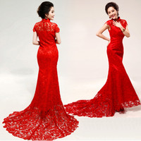 Wholesale Gold Cheongsam Wedding Dress - Conventional China Cheongsam Wedding Dresses 2015 High Neck Sleeveless Mermaid Bridal Gowns Sweep Train Applique Red Lace Wedding Dress