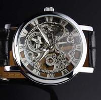 vintage erkek kol saati toptan satış-Ünlü Marka Kazanan Lüks Vintage Erkekler Deri band Man İskelet İzle Ucuz Erkek Mekanik Bilek saatler Şeffaf gümüş Ücretsiz Kargo