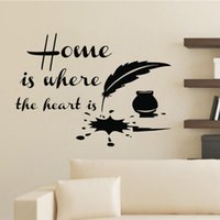 Wholesale Heart Bathroom Accessories - Home Is Where The Heart Is Quotes Wall Stickers Feather Ink Home Decor Accessories Vinyl Wall Decals DIY