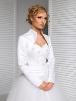 Wholesale Satin Long Sleeve Shrugs - New Bridal Satin Jacket Wrap Wedding Shrug Long Sleeve Bolero