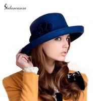 Wholesale Australian Hat For Men - Wholesale-Elegant Fromal Hat Women 100% wool from Australian Larger Brim Hat Solid Felt Headwear Ladies Wool For Felting Hat FW030037